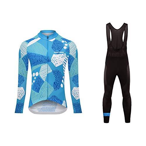 Uglyfrog Donna Moda Maglia Ciclismo Jerseys Maglia con Lunghe Maniche Tuta Invernale + Pantaloni Lunghi di Ciclismo Termico ZRWX02