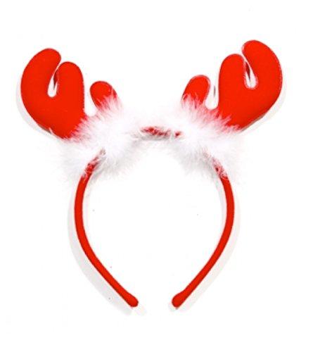olausmütze Weihnachten Haarreif Reh Rentier Geweih Rentiergeweih Kostüm Premium rot für X-Mas (Rentier) (Rentier Kostüm Frauen)