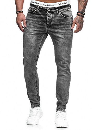 Herren Designer Chino Jeans Hose Basic Stretch Jeanshose Slim Fit W28-W36 (Zweite-haut-jeans)