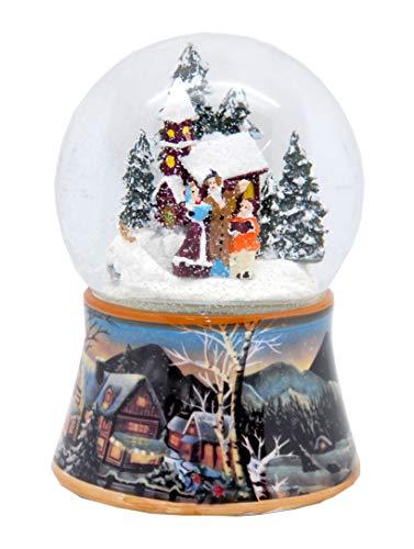 20092 Schneekugel Weihnachten Winterzeit mit Spieluhr 140 mm hoch
