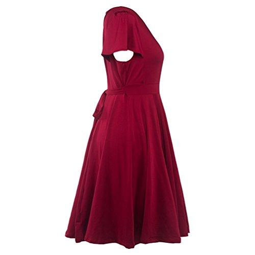 CHENGYANG Femme Manche Courte Plissée A Line Col V Élégante Patineuse Robe Soirée Fête Vin Rouge