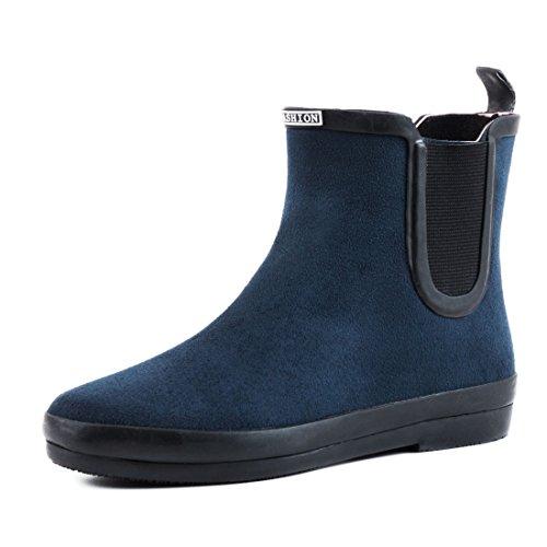 Senhoras Elegantes Escorregar Tornozelo Botas Botina Sapatos Short Veio Em Alta Qualidade Óptica De Couro Azul
