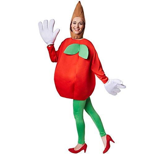 dressforfun Kostüm Apfel Apfelkostüm | Langärmliges, trendiges Oberteil in Form eines Apfels | Große, lustige Handschuhe | Inkl. Kopfbedeckung (M | Nr. 301646) (Lustige Halloween Kostüme Für Arbeit)