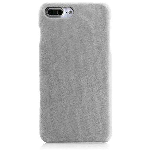 iPhone 7 Plus Flaumig Hülle, iPhone 7 Plus Hülle, Lifetrut Modische dünne [Flauschige Abdeckung] Glatte harte schützende Snap Case Shell für iPhone 7 Plus [Rosa] E203-Grau