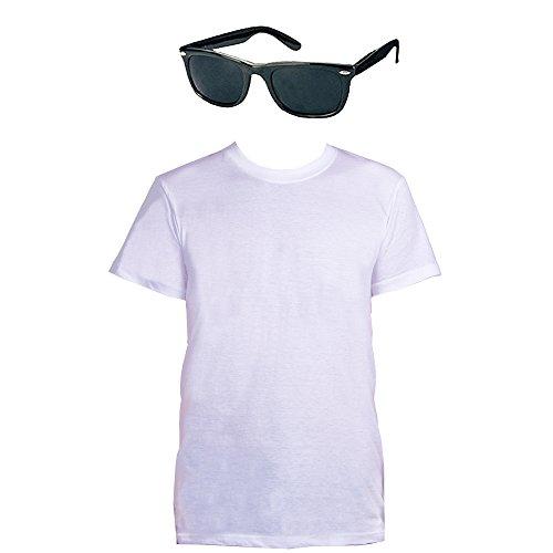 Kostüm Danny - Rock&ROLL KOSTÜM VERKLEIDUNG Love Story Danny Sandy 1950iger Samstag Nacht VIELE GRÖSSEN-Schwarze Brille+WEISSES T/Shirt-MEDIUM