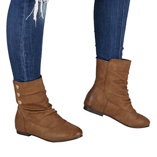 Schlupfstiefel Damen Stiefeletten Warm Gefüttert Stiefel Nieten Hellbraun