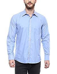 American Crew Men's Solid Shirt With Pocket (Blue)
