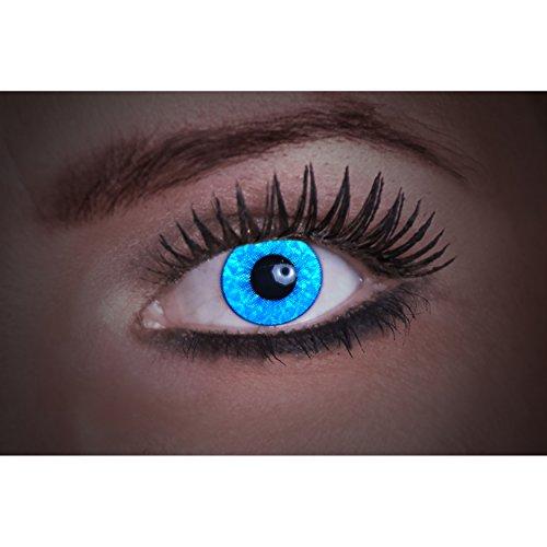 Eyecatcher Diamond UV, Farbige Kontaktlinsen, blue, Leuchten im Schwarzlicht, 1er Pack (1 x 2 Stück)