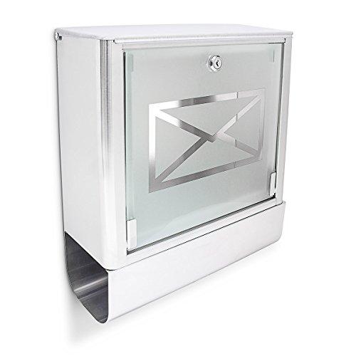 Glas Briefe (Relaxdays Briefkasten mit Zeitungsfach, Postkasten aus Edelstahl und Glas, Mit Motiv, HBT: ca. 40 x 35 x 14 cm, silber / grau)
