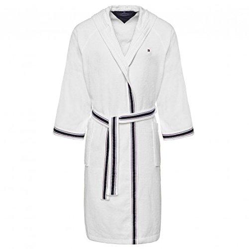 Accappatoio kimono con cappuccio tommy hilfiger tg s m l xl xxl 100% spugna puro cotone uomo donna (university white, xxl - 58/60)