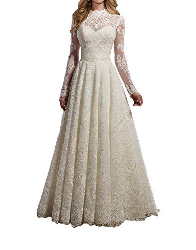 Royaldress Elfenbein 2017 Neu Langarm Spitze Hochzeitskleider brautkleider Brautmode Prinzess...