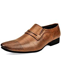 Connekt Men's Brown Synthetic Leather Slip On Formal Shoes