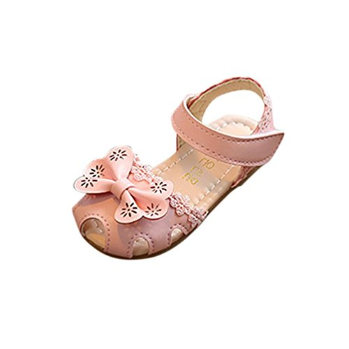 FNKDOR Baby Kinder Mädchen Blumen Geschlossen Sandalen Princess Schuhe (25, Pink)