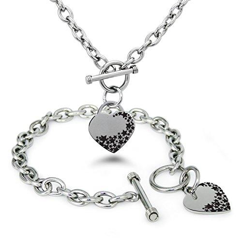 acciaio-inossidabile-seguire-la-propria-stella-fascino-cuore-bracciale-collana-impostato
