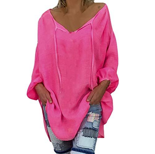 hirt Langarm Sommer Shirt Mode Casual Frauen Lose Plus Size V-Ausschnitt Blusen 2019(Pink,M) ()