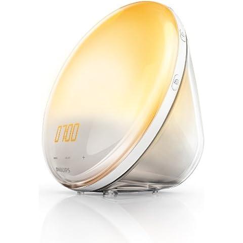 Philips Wake Up Light HF3520/01 - Despertador con 5 sonidos naturales, sistema autoajustable de la intensidad de luz, radio FM, digital