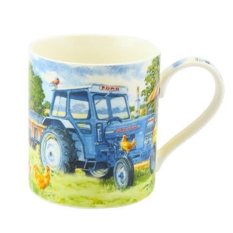 Ford 4000, blauer Traktor, Bauernhof, Tasse, aus feinem Porzellan in Geschenkbox