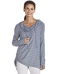 Coolibar–Chaqueta con protección UV UPF50+ camiseta con manga larga, mujer, color midnight blue/White stripe, tamaño L, 42 (EU), 14 (UK)