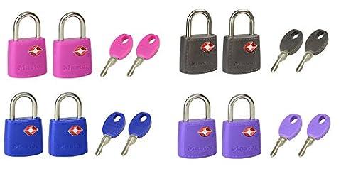 Master Lock Cadenas pour bagage, valise, avec serrure à clé, agréés par les douanes américaines Lot de 2