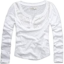 Abercrombie Kids Girls Shine Henley – Camiseta de manga larga