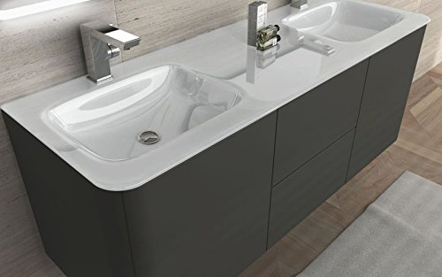 Mobile arredo bagno liverpool sospeso 140 cm doppio lavabo - Arredo bagno doppio lavabo ...
