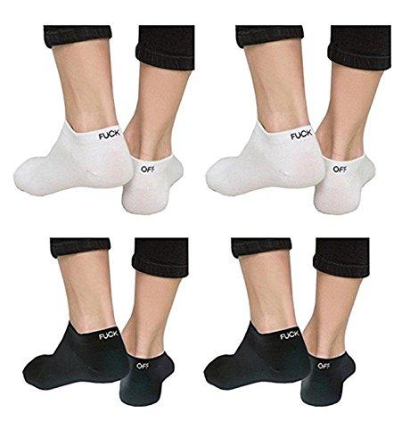 doutree moda hombres mujeres FUCK-OFF diseño impresión divertida Mujeres Hombres Knit deporte calcetines hot (incluyen blanco negro)