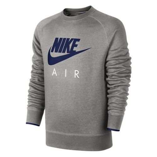 NIKE AW77 Crew Air Heritage Pull polaire à capuche, homme-Multicolore (Dark Grey Heather/Obsidian)-M