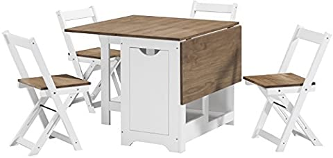 Seconique Santos Butterfly Dining Set in White/Distressed