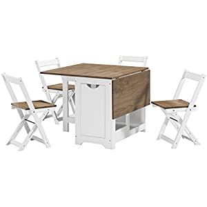 Seconique Santos Butterfly Dining Set in White/Distressed Waxed Pine