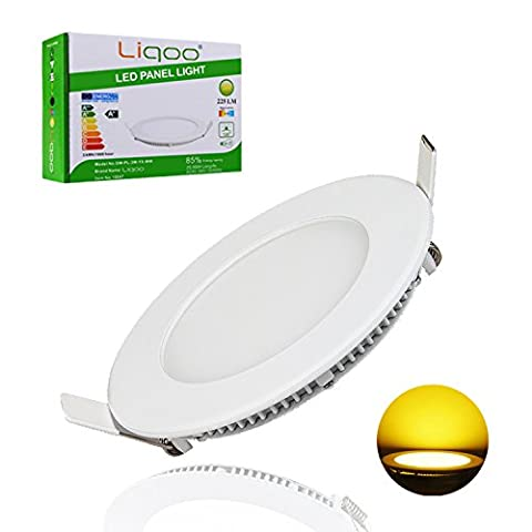 Liqoo 3W LED Round Panel Recessed Ceiling Light Ultra Slim Downlight Lamp with Transformer Warm White 225 Lumen Equivalent