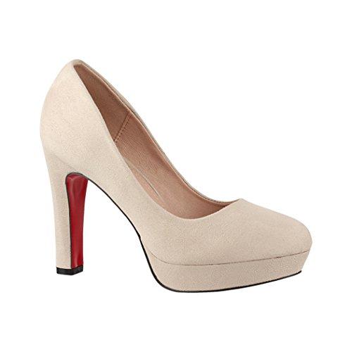 Elara Damen Pumps | Bequeme High Heels | Vintage-Style | Abendschuh Trendy | Chunkyrayan | E22360 Beige-40