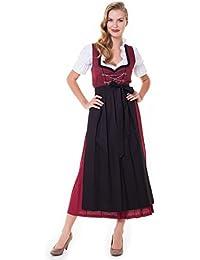Alpenmärchen 3tlg. Dirndl-Set lang - Trachtenkleid, Bluse, Schürze, Gr. 34-60, rot-schwarz - ALM501R
