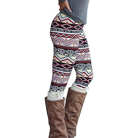 Tongshi Mujeres casuales dama Skinny geométrica impresión elástico Skinny pantalones polainas delgados (Multicolor,