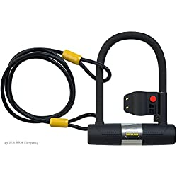 Candados de SIGTUNA - Candado en U ultra-resistente de 16mm con Abrazadera de Soporte + 1200mm de Cable de Acero trenzado flexible.