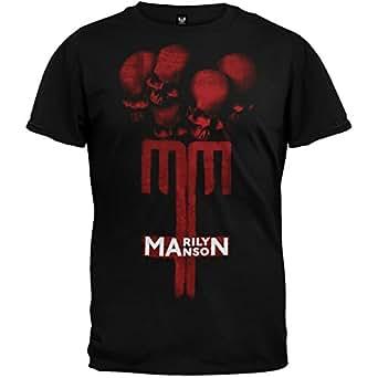 Old Glory Marilyn Manson - Mens Skull Cross T-Shirt X-Large Black