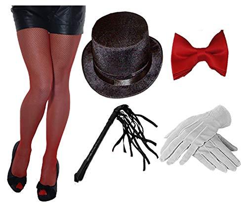 Islander Fashions Damen Zirkusringmeister Kost�mzubeh�r Netzstrumpfhut Handschuh Fliege Peitsche (T0573 + H14145 + WF3040R + WD2167WH + 6120)