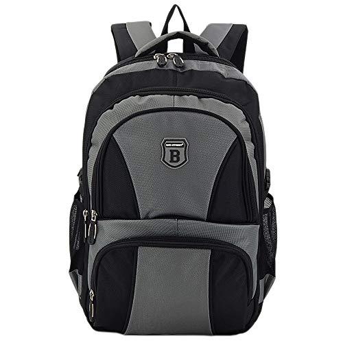 Ergonomisches Daypack City Damen Herren Rucksack Schulrucksack Backpack Tasche für Reise Sport Freizeit (B1 Grau-Schwarz)