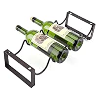 DHTU Metal Wine Rack Free Standing And Countertop Wine Hanger Holder Stackable Modular Wine Storage For Home Kitchen Restaurant KTV Bar Cabinet Pantry