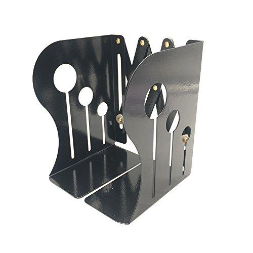 gabbrein Metall Buchstützen Robuste, verstellbare Ständer Bücher Halter Schreibtisch mit rutschfester Unterseite schwarz