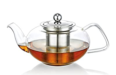 Verre résistant à la chaleur-Chauffe-théière avec infuseur à thé 1000 ml inclus