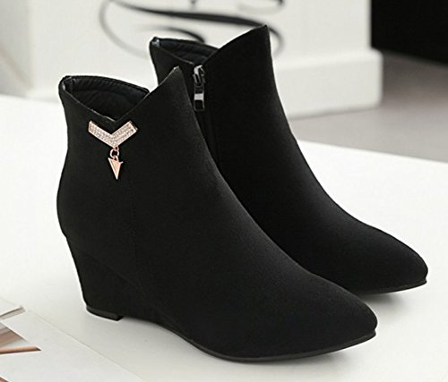 Aisun Femme Chic Chaussures Compensées Métal Strass Bottines Noir