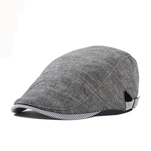 Anshili Homme Chapeau Coton Bérets Motif à Carreaux Gris 1