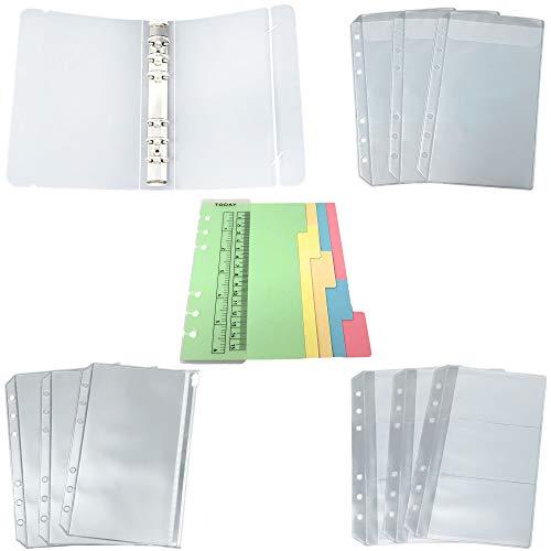 Rusoji A6 6-Ring-Ordner-Set aus durchscheinendem Kunststoff inkl. Geldbeutel, Reißverschlusstasche, Tasche, Namenskartenhalter, 6-Ring-Ordnerdeckel, Index-Trennkarten, Seitenmesslineal