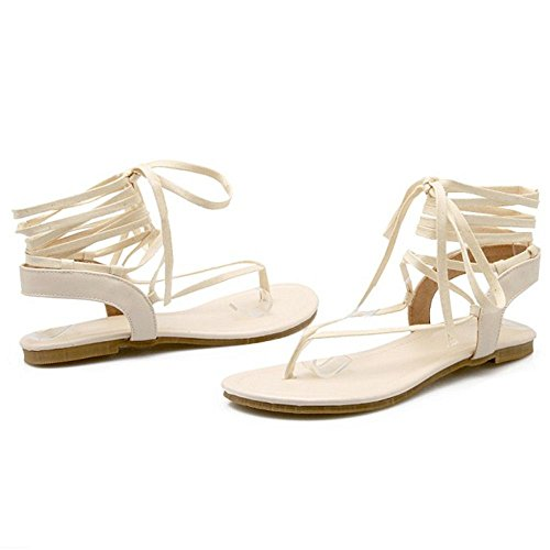 COOLCEPT Femmes Clip Toe Talon bas Tongs Sandales Gladiateur Lacets Chaussures Beige