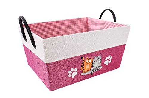 Rosa / pink Pappschachtel mit Katzenmotiv / Aufbewahrungskiste / Aufbewahrungsbox / Spielzugkiste / Schachtel für Kinderzimmer 41x31x21/27H Cm
