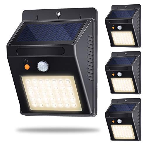 luce solare per esterni parete, portico,cortile, recinzione, giardino illuminazione impermeabile 35 led lampada con induzione automatica sensore bianco caldo 3000k 4 pezzi