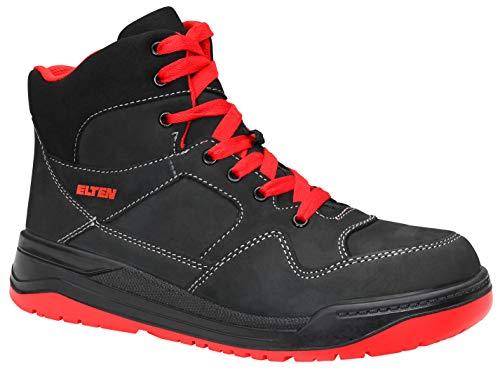 ELTEN Sicherheitsschuhe MAVERICK black-red Mid ESD S3, Herren, sportlich, Sneaker, leicht, schwarz/rot, Stahlkappe - Größe 47