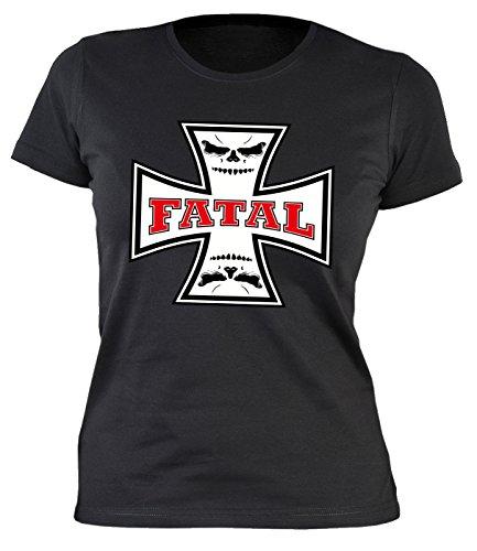 Frauen/Girlie/Damen-Shirt/Biker-Shirt/Kreuz-Motiv: Fatal - cooler Look/Motorrad/Biker-Shirt Schwarz