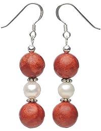 Ohrringe Ohrhänger aus Schaumkoralle & Süßwasserperlen 925 Silber Ohrschmuck
