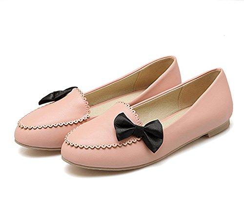 Aisun Süß Schleife Flach Low-Top Ohne Verschluss Flat Loafer Slippers Pink